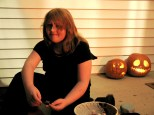 Samantha Hanneman hands out candy on Halloween, circa 2007.