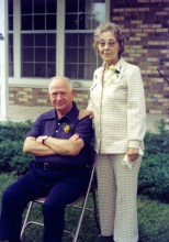 Carl F. and Ruby V. Hanneman on their 50th wedding anniversary, celebrated at Sun Prairie in July 1975.