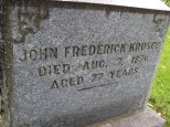 John Frederick Krosch's grave at Oak Knoll Cemetery in Mukwonago, Wisconsin.