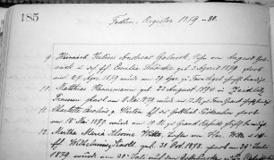 The death of Matthias Hannemann on May 11, 1879 is recorded in the parish register at St. John's Lutheran Church in Kellner, Wisconsin.