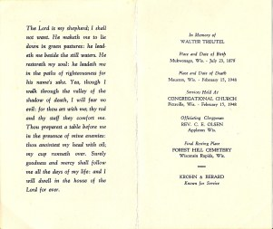 The prayer card given at the funeral of Walter Treutel of Vesper, Wisconsin.