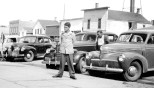 David D. Hanneman stands in front of the Ortman Hotel in Canistota, South Dakota, circa 1946. Read more about his cool threads here: http://wp.me/p4FxQb-Aq