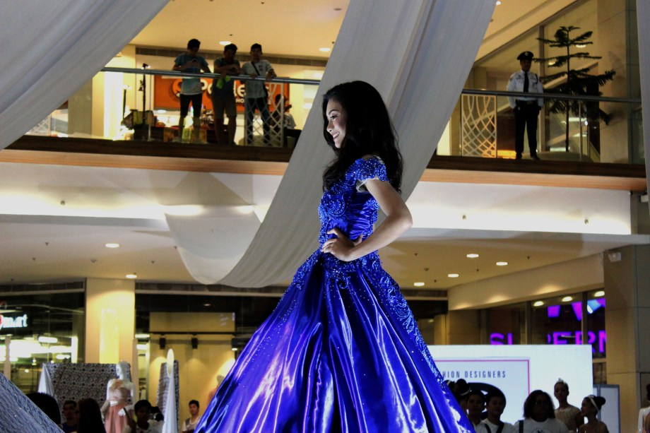 Nicole Valerie Dapanas at Veranza Mall, Philippines; wearing Jana Janeo's royal blue debut gown for WEDDING AND DEBUT EXPO 2017