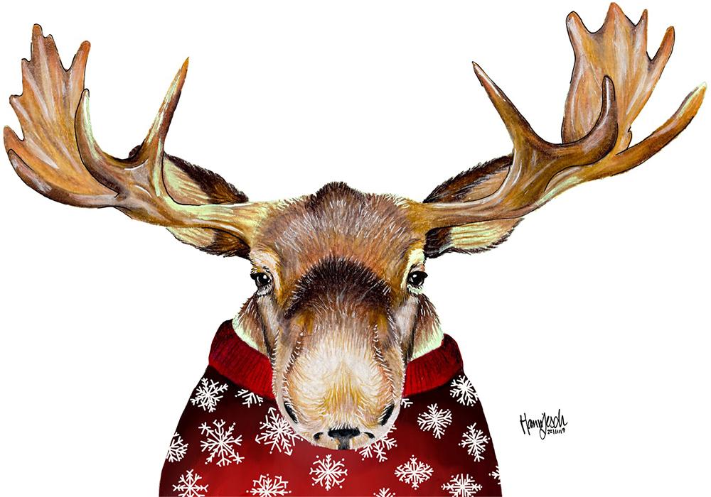 Elch Zeichnung in Pullover
