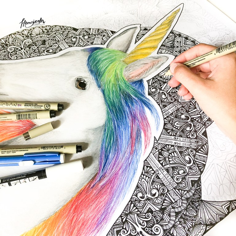 Unicorn drawing with Zentangle Mandala background