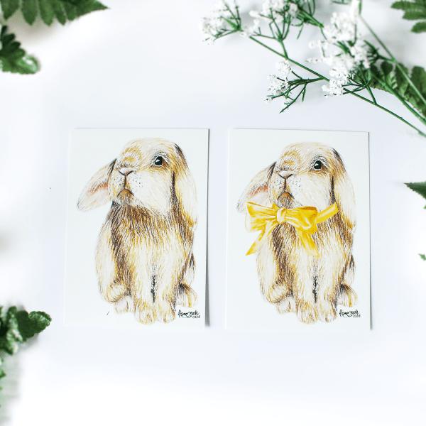 """Ostern Postkarte mit Häschen/Kaninchen """"Pascal"""" mit oder ohne Schleife"""