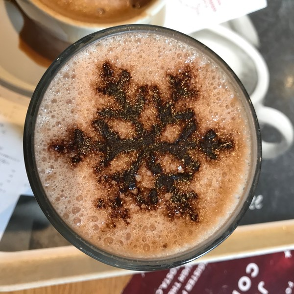 Hot Chocolate in Costa Coffee with a Chocolate snowflake on top