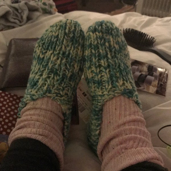 Finished knitted slippers! Yeah!