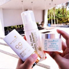 Aloe AC Cleans Bubble Cleanser and Aqua Whitening Cream amd Gold Nano CC Cream