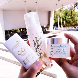 Aloe AC Cleans Bubble Cleanser and Aqua Whitening Cream amd Gold Nano CC Cream