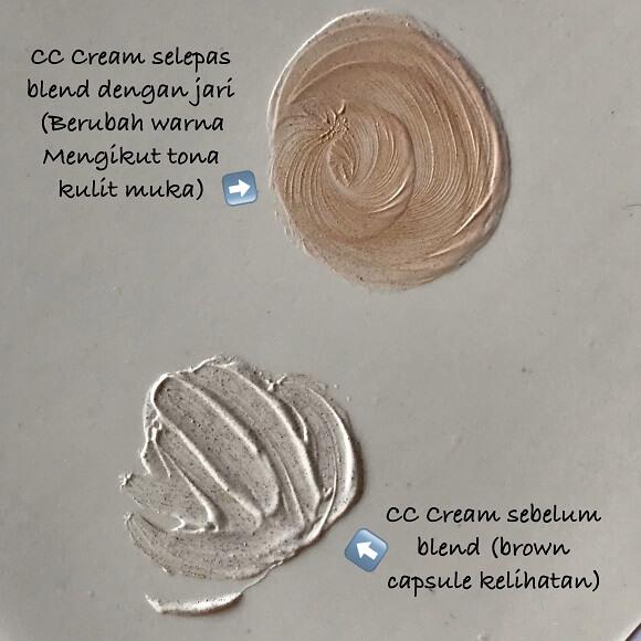 warna CC Cream akan berubah mengikut tona kulit