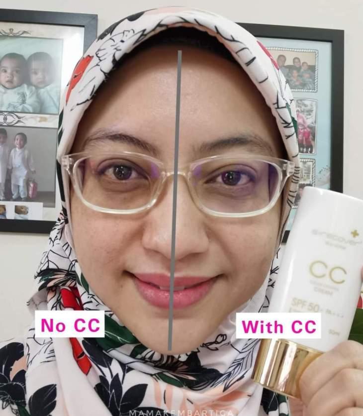 Ni kulit Mama tanpa bedak, hanya pakai CC Cream, kulit nampak lebih cerah dan hitam bawah mata pun dapat cover sikit kan