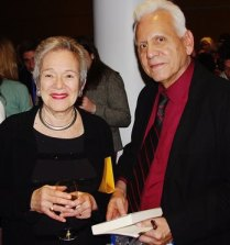 Edith Pearlman, NBCC 2011 fiction winner, with Gregg Barrios