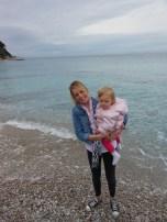 me & lila on the beach