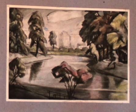Herbst am Wall I, Presstafel, 70/100 cm, 1954