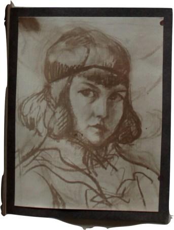 """Portrait Studie """"Idl"""" Pappe, 27/43 cm, 1922"""
