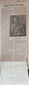 © Zeitung unbekannt, 19.7.1952, Emil Theil 60 Jahre alt, Autor Alfred Faust.