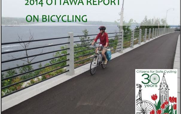 The front page of the 2014 Citizens for Safe Cycling Report shows the beautiful new Multi Use Pathway along the Rockcliffe Parkway.