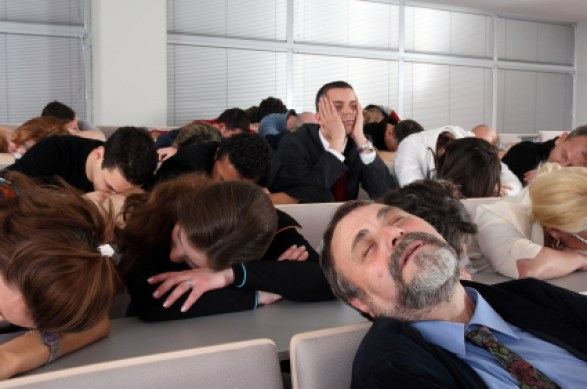 people falling asleep during powerpoint