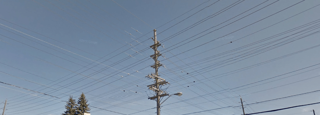 Electricity wires at the intersection of Fisher and Dynes