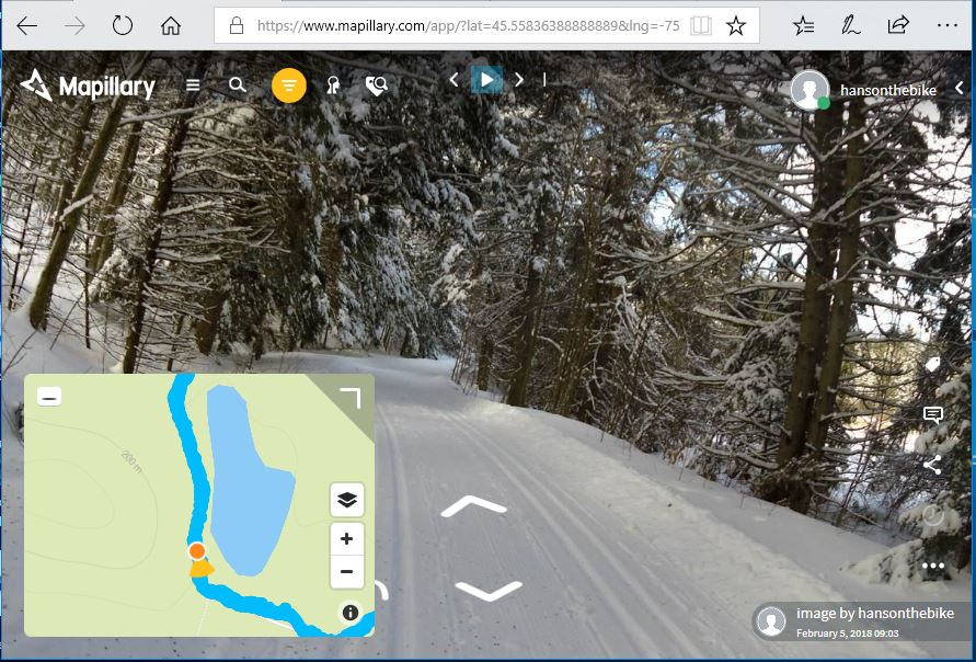 A Mapillary screen shot of part of the Canada Trail that is going through the park.