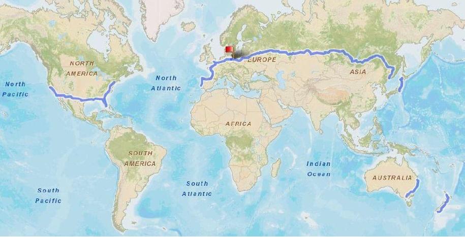 Trip of Sven Marx around the world
