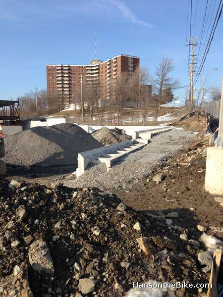 The Nepean Trail at Movati is built with a retaining wall.