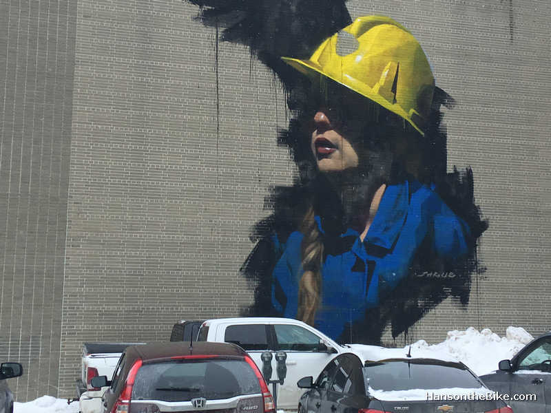 No mining town is complete without a miner in a mural