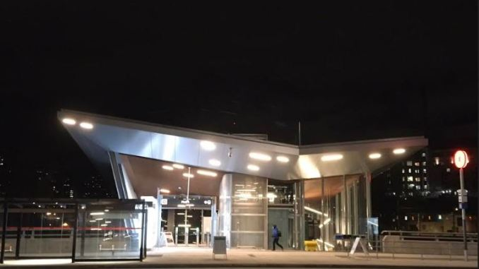night shot of Pimisi Station