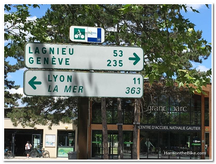 Long distance bike route sign Lyon