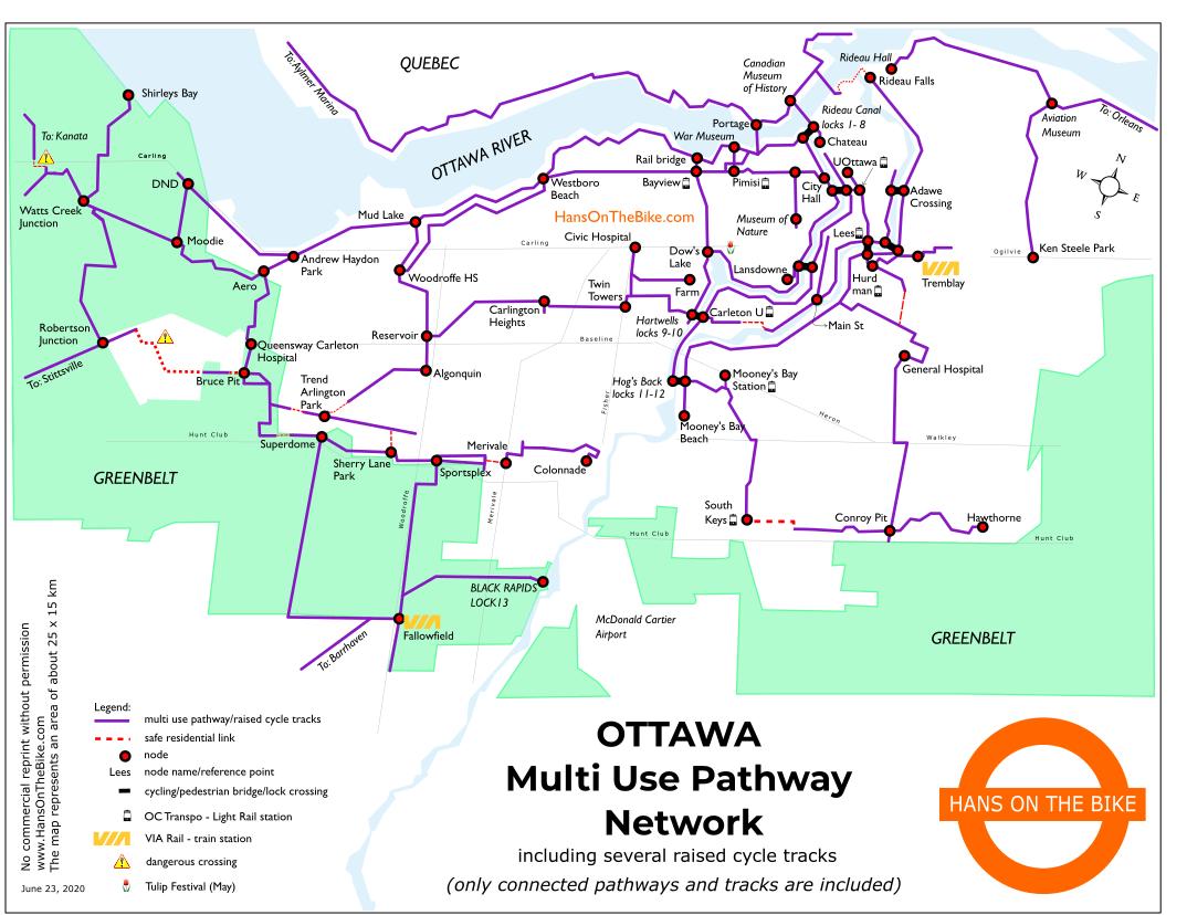 2020 07 04 Ottawa Multi Use pathway Cycling Walking Map – Hans on the Bike