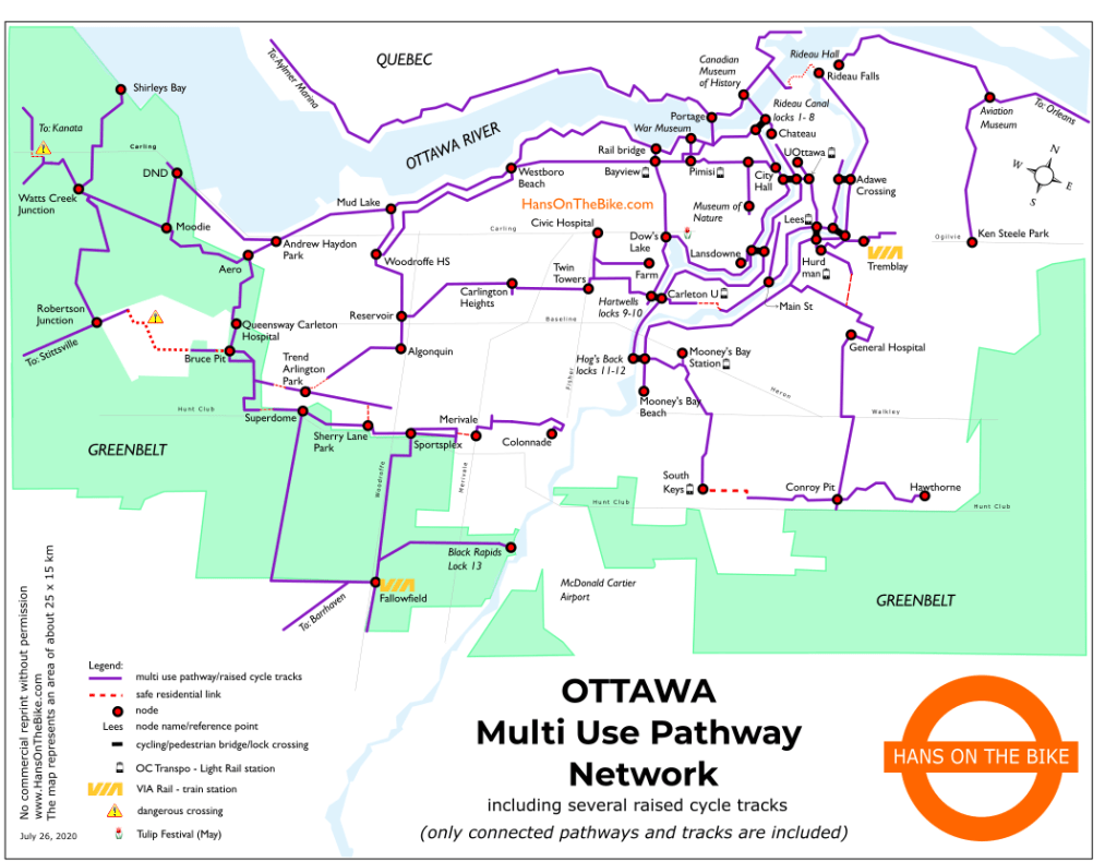 Map of pathways in Ottawa by Hans on the Bike