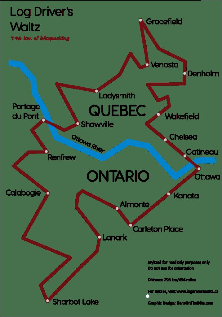 Overview of Log Driver's Waltz gravel bike near Ottawa, Ontario, Canada