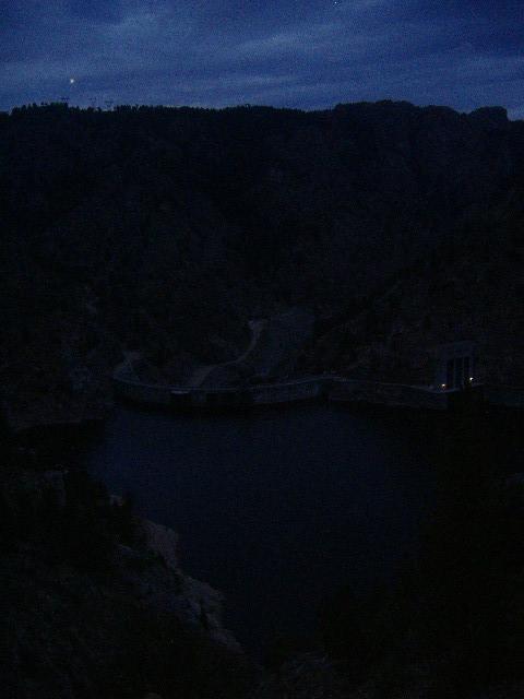 Seminoe Dam at dusk, Miracle Mile is downstream from dam.