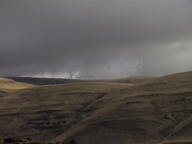 Wind Turbines on the north side of the Columbia River in Washington State.