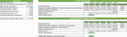 Valuing the S&P 500 market index