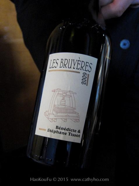 """在Pierre Gagnaire 享用的白酒,是來自Jura - Arbois 區的 Chardonnay """"Les Bruyères"""", 2009, Domaine Bénédicte Stéphane Tissot"""