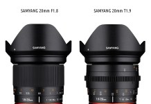 SAMYANG 20mm F1.8 ED AS UMC Fotoobjektiv und SAMYANG 20mm T1.9 ED AS UMC Videoobjektiv