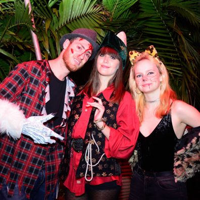 (L-R) El-Bar Grinberg, Georgia Smyth and Lauren Smyth during the Halloween Masquerade party at J's Westlands.