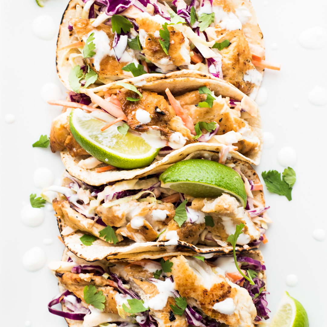 Fish Tacos with Sriracha Aioli Slaw