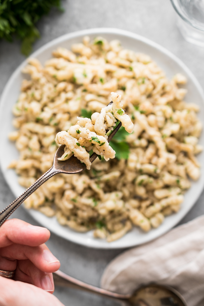 Spaetzle, or 'little sparrows' are a German staple. These small egg dumplings are tossed with brown butter, nutmeg, parsley, and are irresistible!