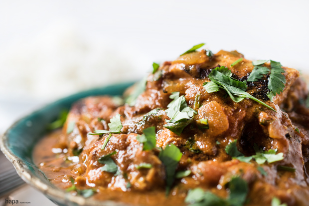 Chicken Tikka Masala is made of succulent pieces of chicken enveloped in a spicy and creamy sauce.