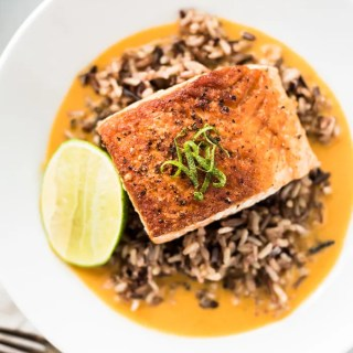 Pan Seared Salmon with Wild Rice in Coconut Curry Broth