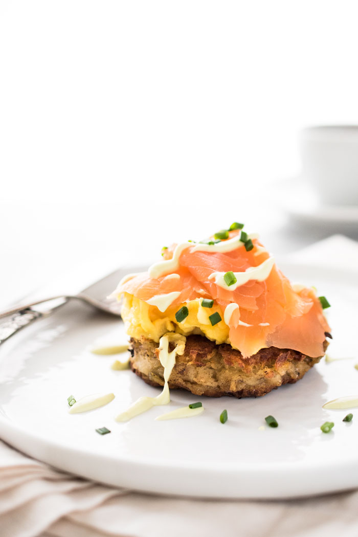 Enjoy a special Irish breakfast of Smoked Salmon and Egg Boxty with an Avocado Crème Fraîche Sauce