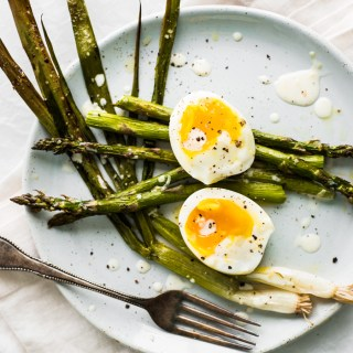 Roasted Asparagus and Scallions with Perfectly Creamy Eggs