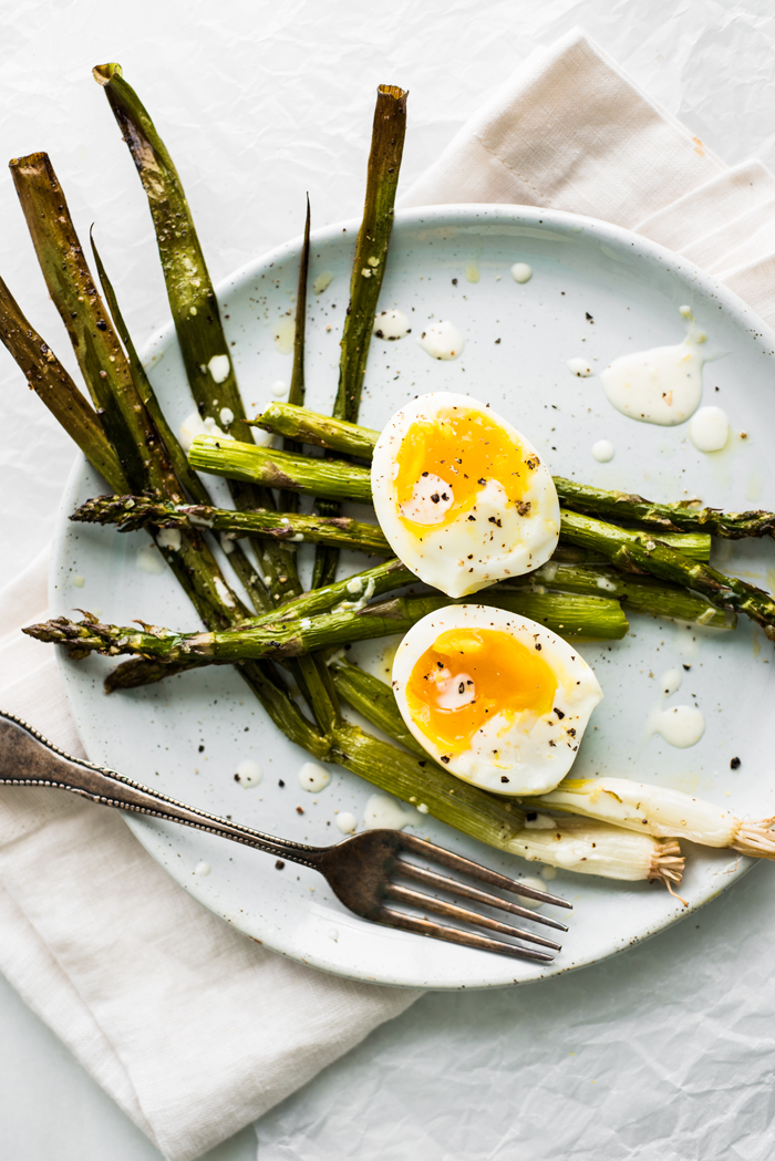 Roasted Asparagus and Scallions with Perfectly Creamy Eggs and a Lemon Dressing