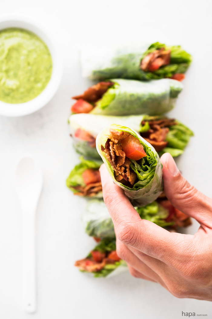 Wrapped in a thin, light rice paper wrapper these rolls give you more BLT bang for your buck!