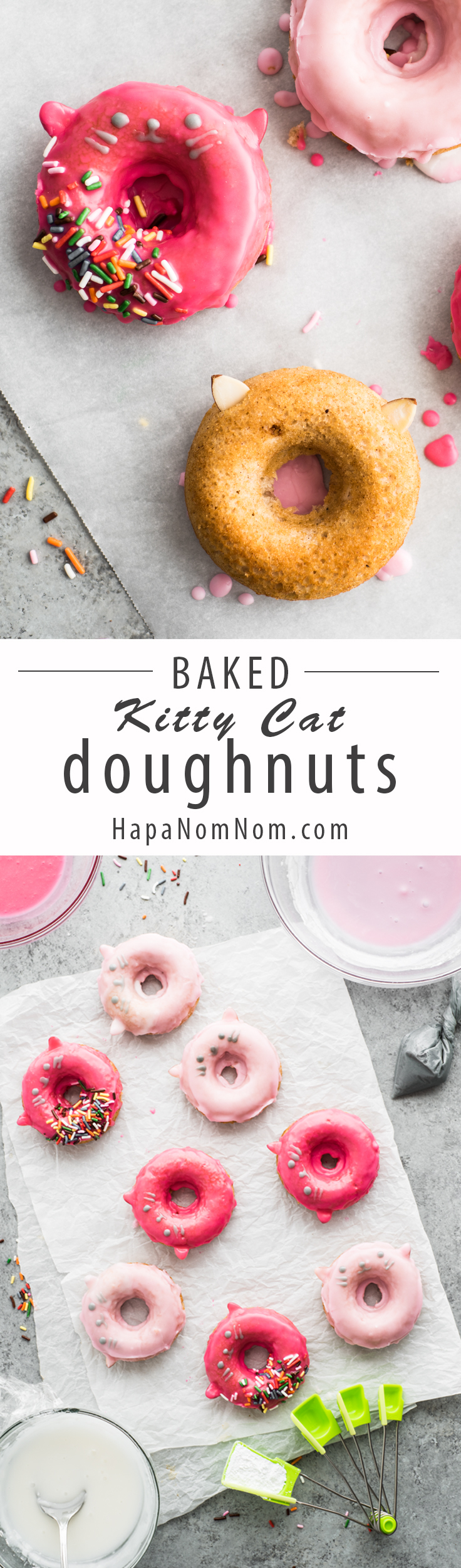 These baked kitty cat doughnuts are SO adorable, they're sure to bring a smile to anyone's face!