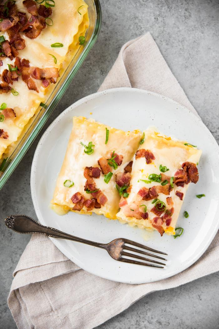 Roasted Kabocha Lasagna with Sake Cream Sauce and Crispy Bacon