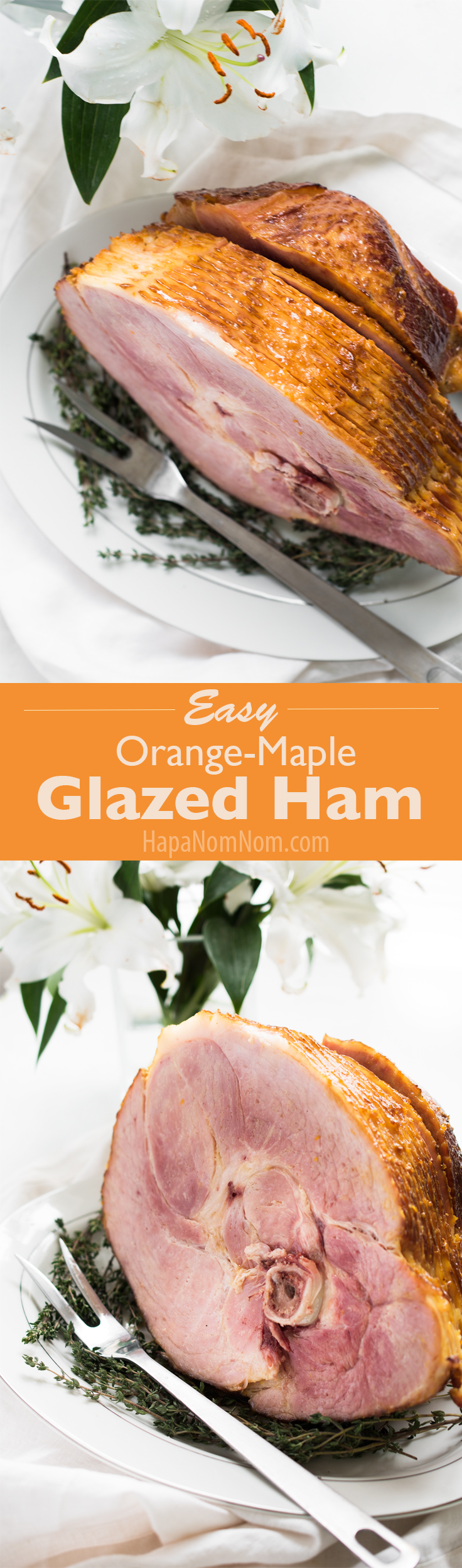 This easy Orange-Maple Glazed Ham is perfect for the holidays, feeds a crowd, and takes only minutes of prep time!